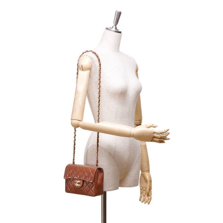 f8fc6fba00d0 Vintage 90s Chanel brown mini Matelasse quilted lambskin shoulder bag. -  Front flap with