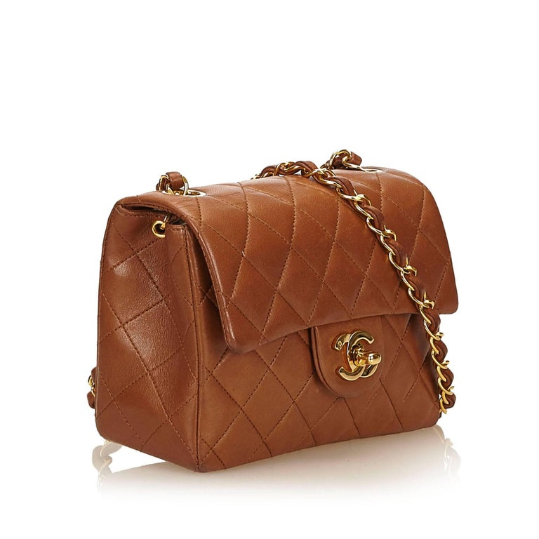 857c7616100e Chanel Brown Mini Matelasse Quilted Lambskin Leather flap shoulder bag In  Excellent Condition For Sale In