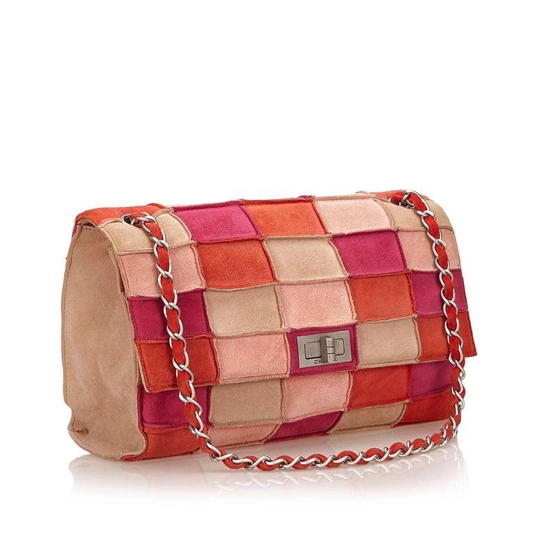 3df1d4e0ebdd Pink Chanel Multi Coloured Suede Patchwork Flap Shoulder Handbag For Sale