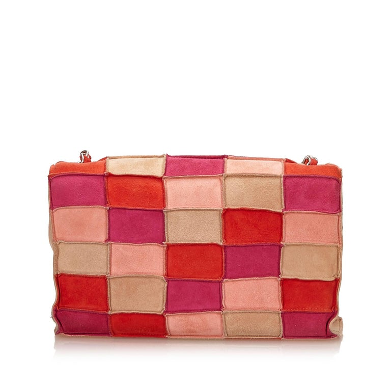 e381598b5493 Chanel Multi Coloured Suede Patchwork Flap Shoulder Handbag In Excellent  Condition For Sale In Sheung Wan