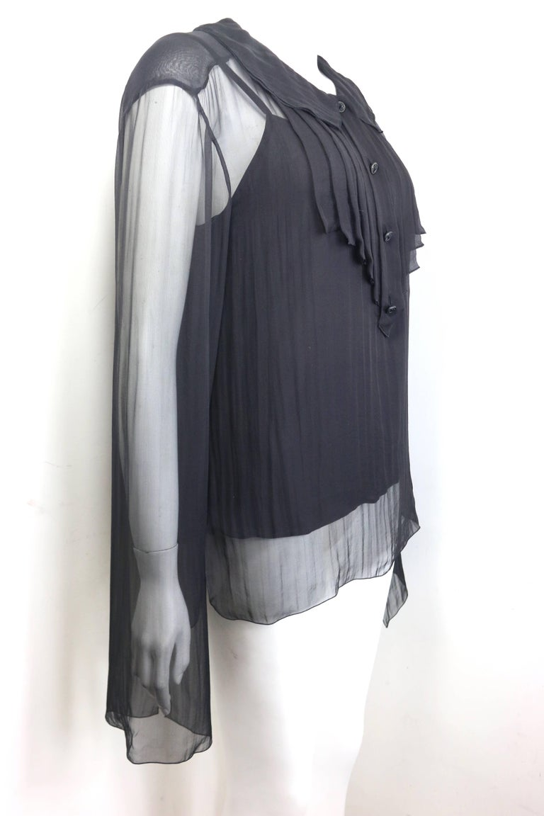 Chanel Black Silk See Through Long Sleeves Blouse  In Excellent Condition For Sale In Sheung Wan, HK