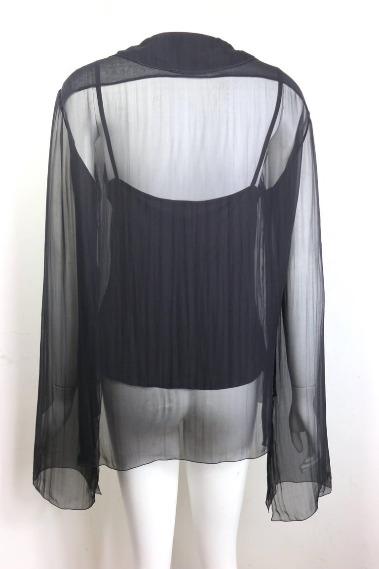 Women's Chanel Black Silk See Through Long Sleeves Blouse  For Sale