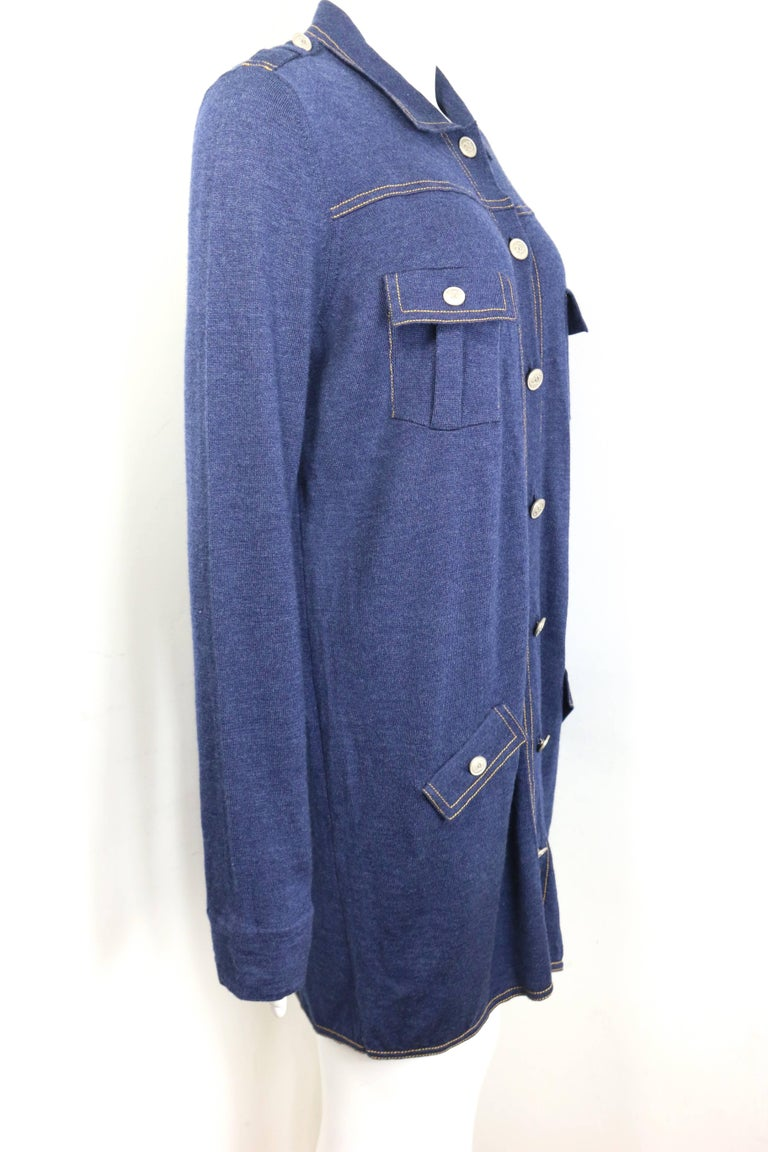 - Chanel blue wool denim like tunic/dress.   - Epaulette Shoulders.   - Yellow Stitch piping.   - Four front pocket with silver toned