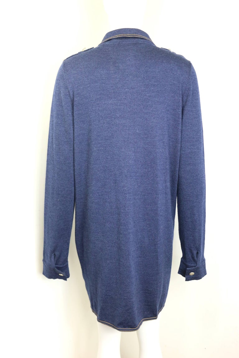 Chanel Blue Wool Denim Like Tunic/Dress  In New Condition For Sale In Sheung Wan, HK