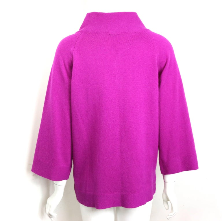 Chanel Pink Cashmere 3/4 Sleeves Length Mock Neck Sweater  4