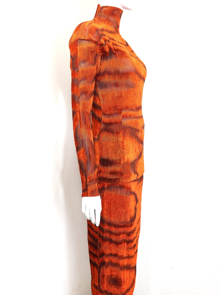 Red Issey Miyake Orange Velvet Plasma Wave Pattern Top and Skirt Ensemble  For Sale