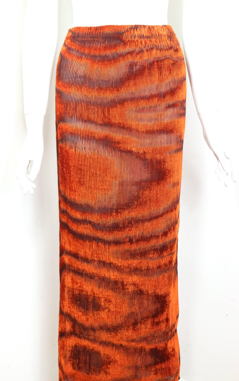 Women's Issey Miyake Orange Velvet Plasma Wave Pattern Top and Skirt Ensemble  For Sale