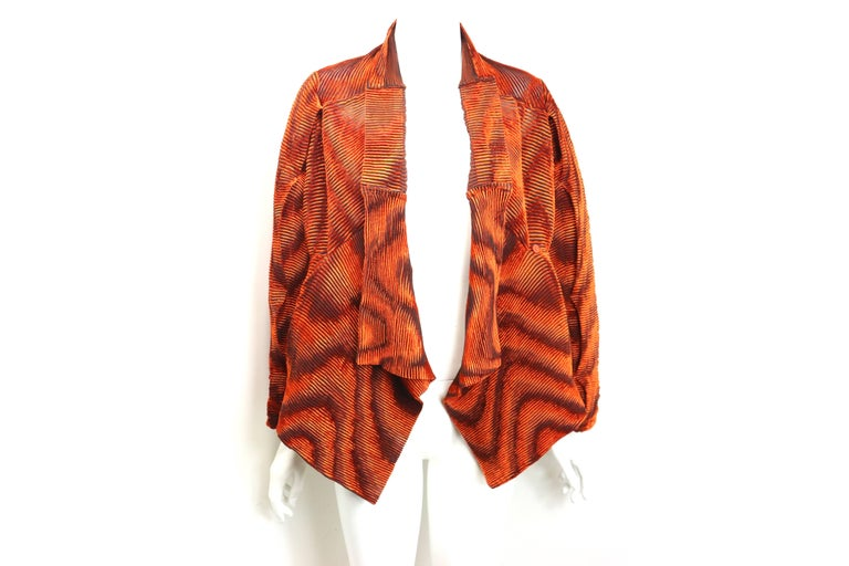 Issey Miyake Orange Velvet Plasma Wave Pleated Bolero Jacket For Sale 2