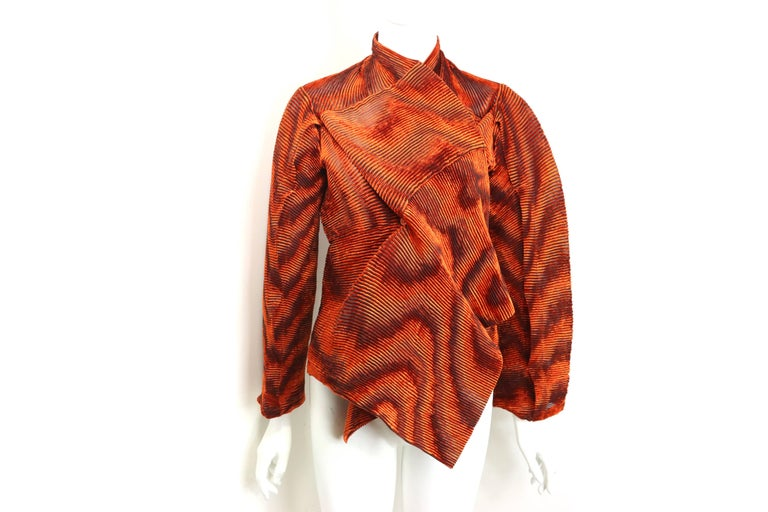 32af4ae03e8c Issey Miyake Orange Velvet Plasma Wave Pleated Bolero Jacket In New  Condition For Sale In Sheung