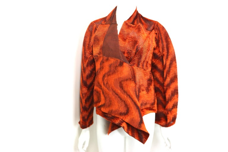 Women's Issey Miyake Orange Velvet Plasma Wave Pleated Bolero Jacket For Sale