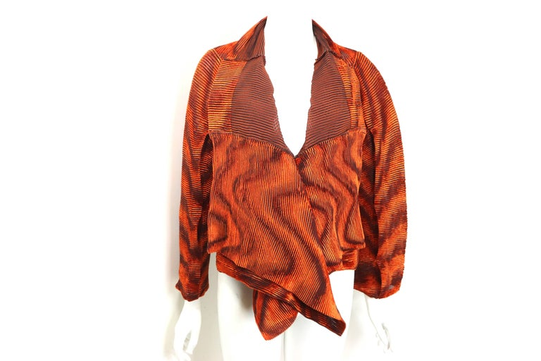 Issey Miyake Orange Velvet Plasma Wave Pleated Bolero Jacket For Sale 1