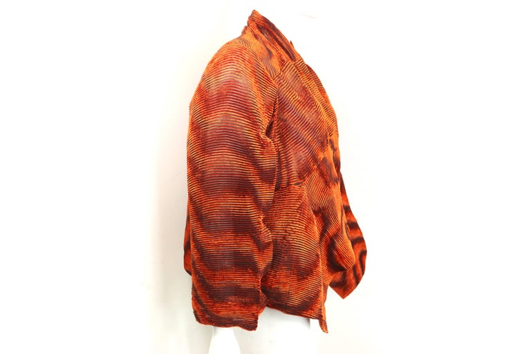 Issey Miyake Orange Velvet Plasma Wave Pleated Bolero Jacket For Sale 3