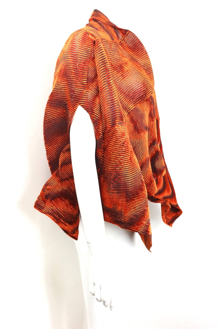 Issey Miyake Orange Velvet Plasma Wave Pleated Bolero Jacket For Sale 4