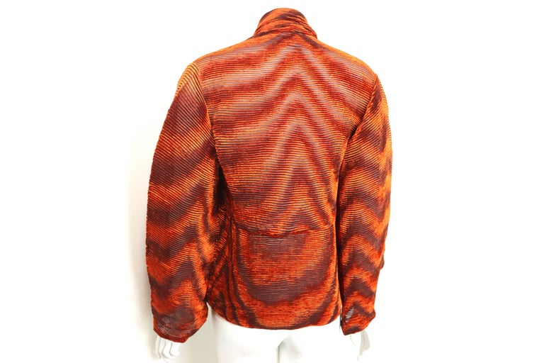 Issey Miyake Orange Velvet Plasma Wave Pleated Bolero Jacket For Sale 5