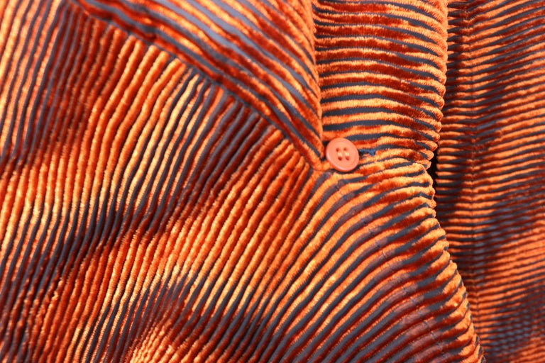 Issey Miyake Orange Velvet Plasma Wave Pleated Bolero Jacket For Sale 6