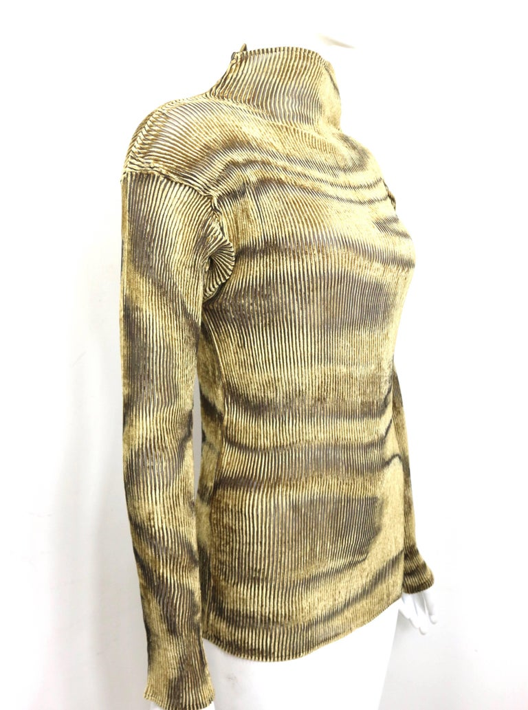Issey Miyake Gold Velvet Plasma Wave Pattern Long Sleeved High Neck Top  2