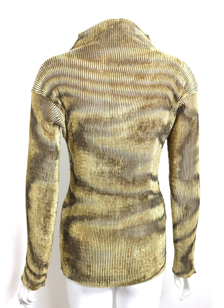 Issey Miyake Gold Velvet Plasma Wave Pattern Long Sleeved High Neck Top  3