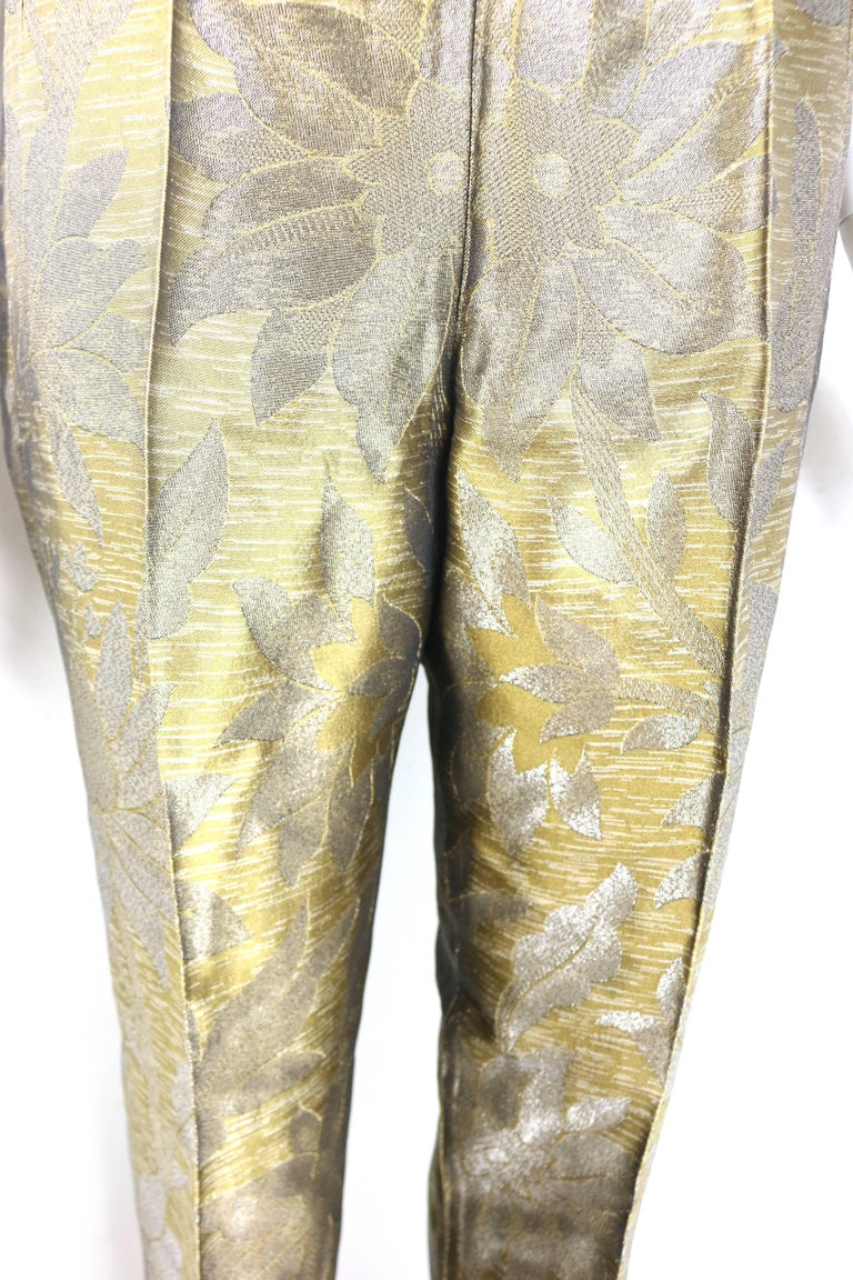 Brown Dries Van Noten Oliver and Silver Floral Embroidered Silk Pants For Sale