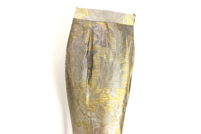 Dries Van Noten Oliver and Silver Floral Embroidered Silk Pants In New never worn Condition For Sale In Sheung Wan, HK