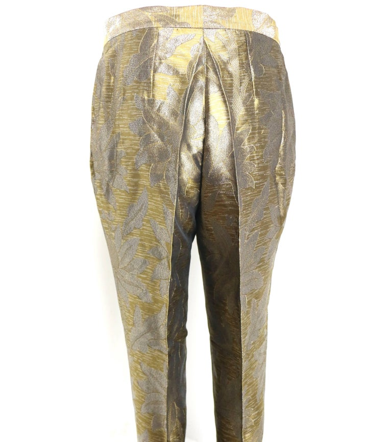 Women's Dries Van Noten Oliver and Silver Floral Embroidered Silk Pants For Sale