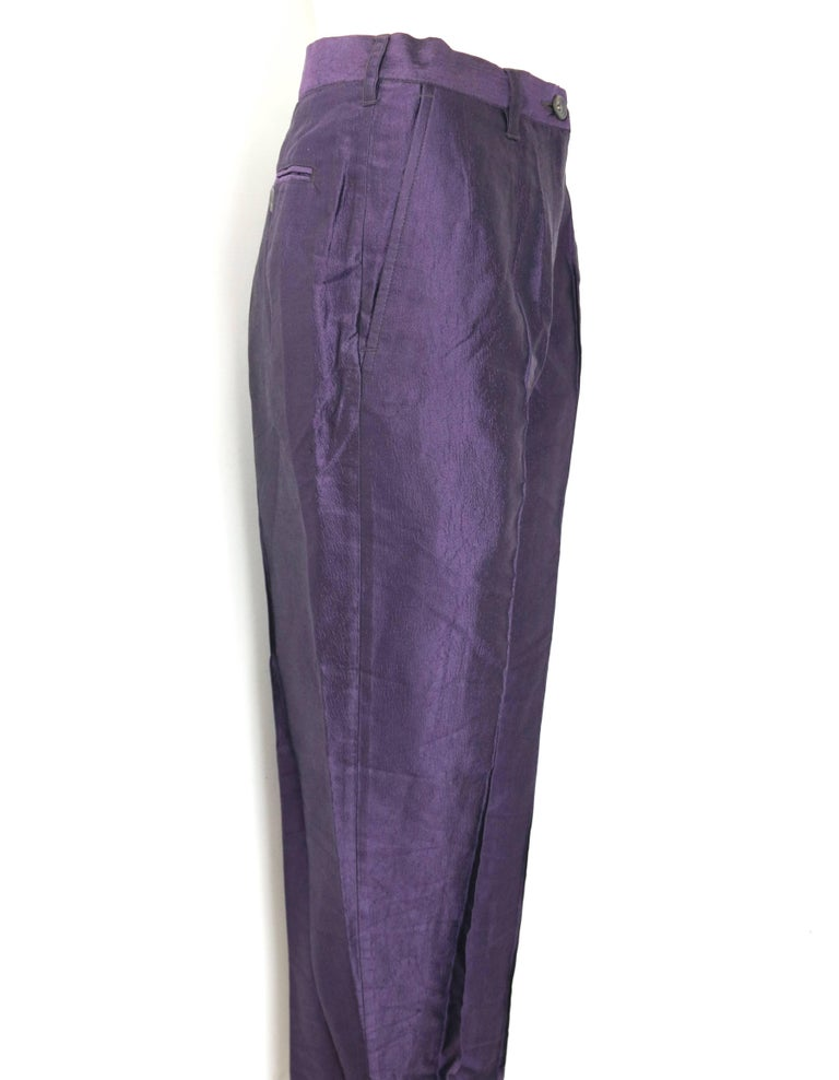 - Vintage 90s Dries Van Noten purple silk pants.   - Deliberately creased effect.   - Straight leg carrot style cutting.   - Button and zip fly fastening. One back pocket with button closure.   - Belt Loop.   - Side pockets.  - Center Crease.   -