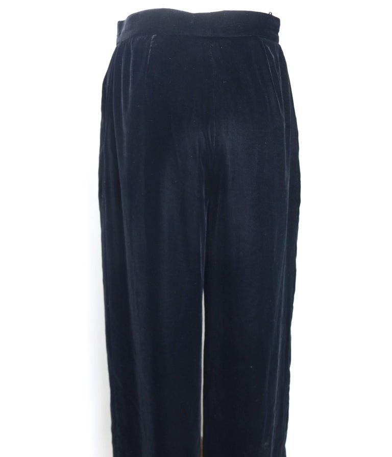 Women's Vintage Fall 1998 Chanel Black Velvet Pants  For Sale