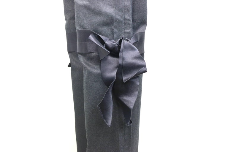 Fall 2005 Chanel Black with Silver Stripe Jeans with Silk Tied Bows  In Excellent Condition For Sale In Sheung Wan, HK