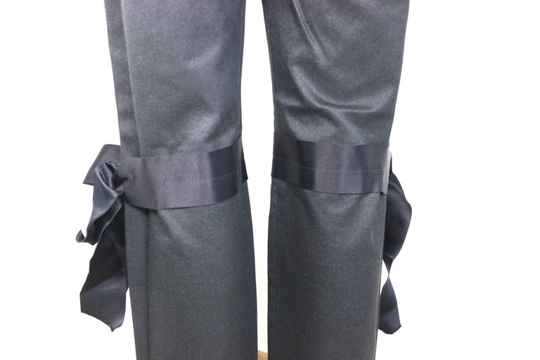 Fall 2005 Chanel Black with Silver Stripe Jeans with Silk Tied Bows  For Sale 1