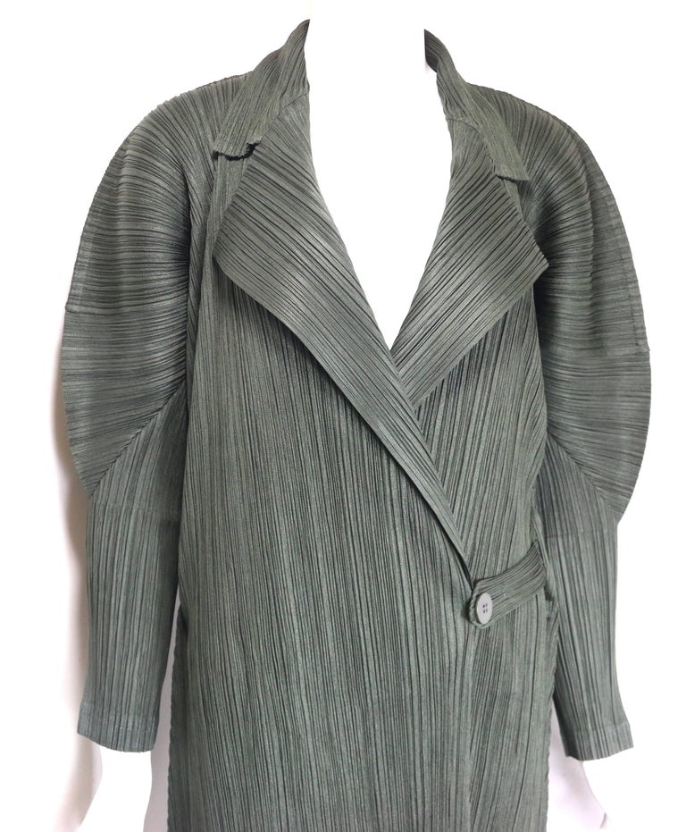 Issey Miyake Pleats Please Green Pleated Long Belted Coat   For Sale 1