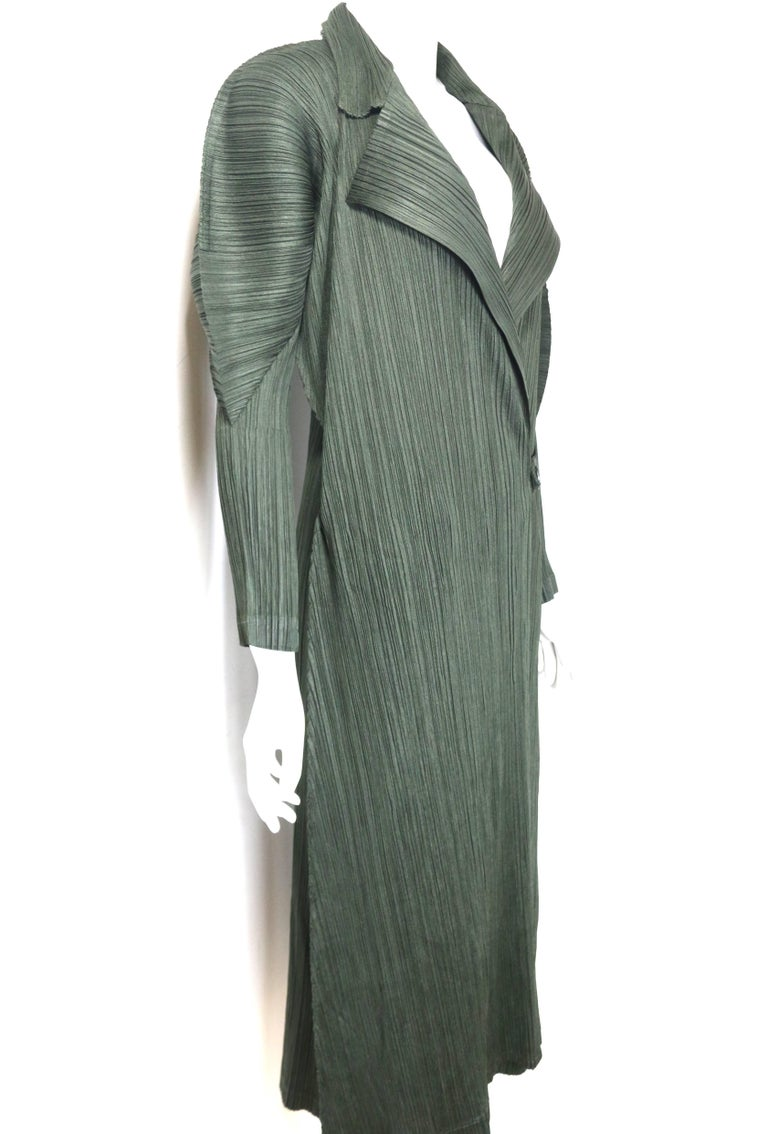 Gray Issey Miyake Pleats Please Green Pleated Long Belted Coat   For Sale