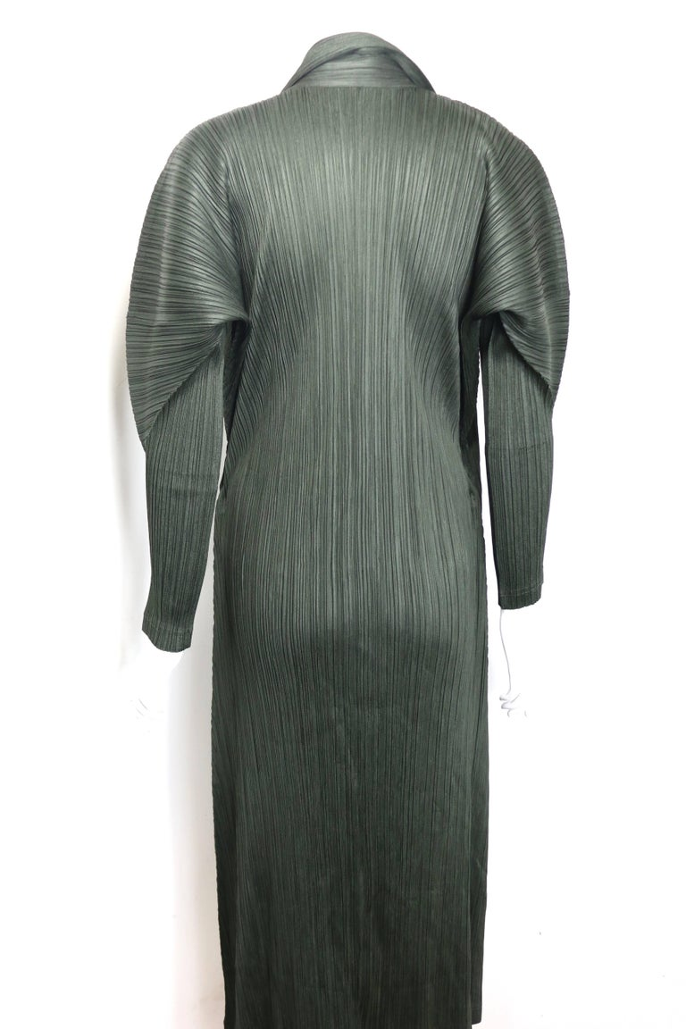 e498fcf4af48 Issey Miyake Pleats Please Green Pleated Long Belted Coat In New Condition  For Sale In Sheung