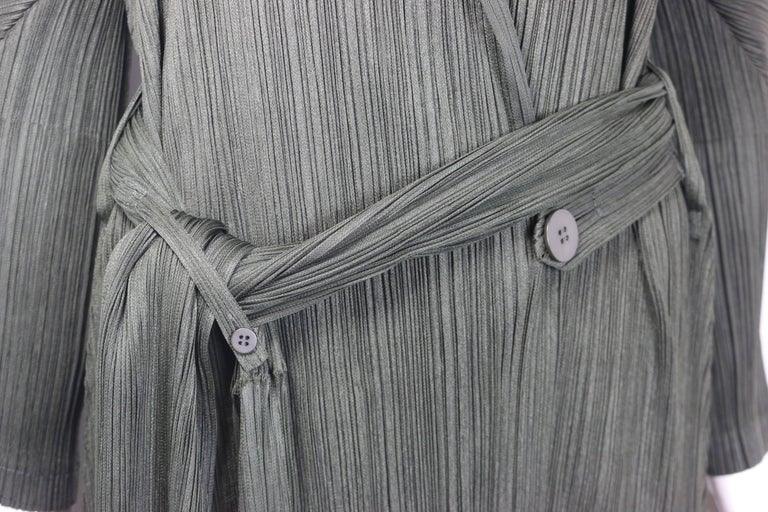 Issey Miyake Pleats Please Green Pleated Long Belted Coat   For Sale 3
