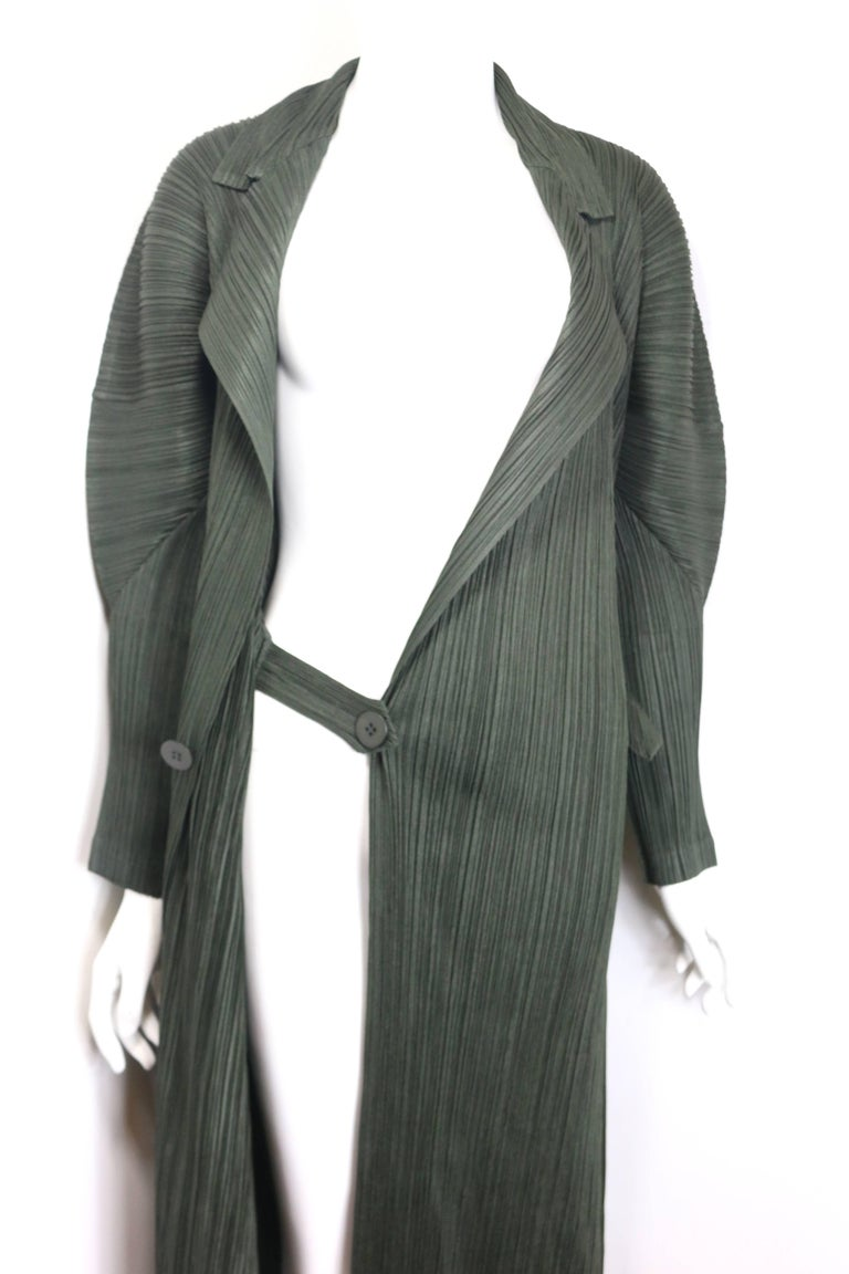 Women's Issey Miyake Pleats Please Green Pleated Long Belted Coat   For Sale