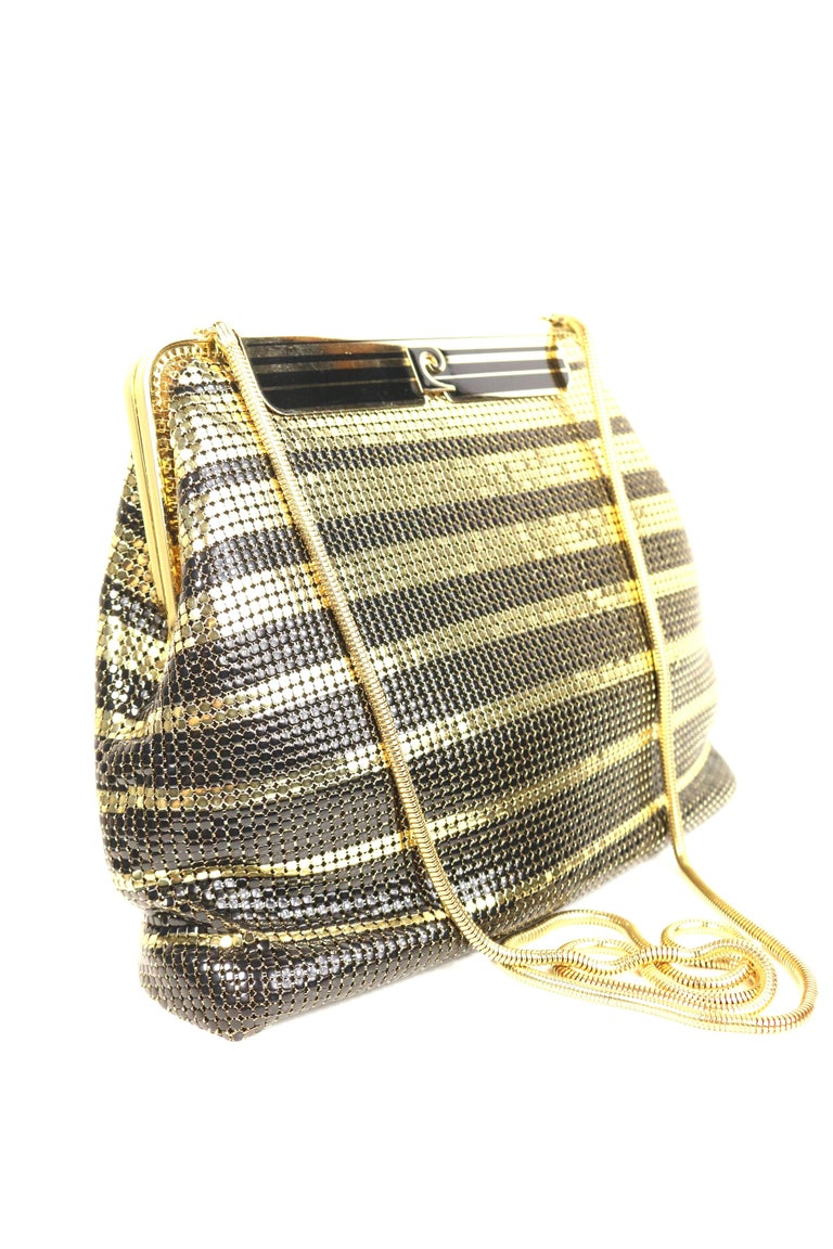 Vintage Pierre Cardin Black and Gold Plated Stripe Sequins Shoulder Bag/Clutch  In Excellent Condition For Sale In Sheung Wan, HK