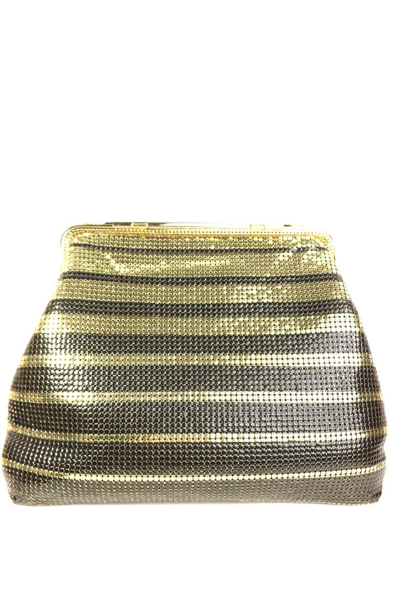 Brown Vintage Pierre Cardin Black and Gold Plated Stripe Sequins Shoulder Bag/Clutch  For Sale