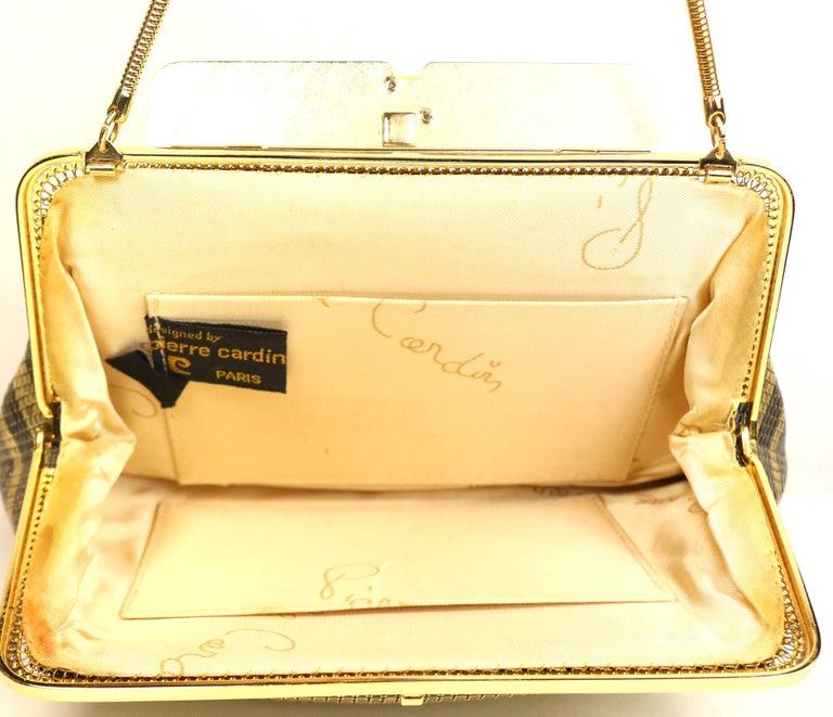 Vintage Pierre Cardin Black and Gold Plated Stripe Sequins Shoulder Bag/Clutch  For Sale 1