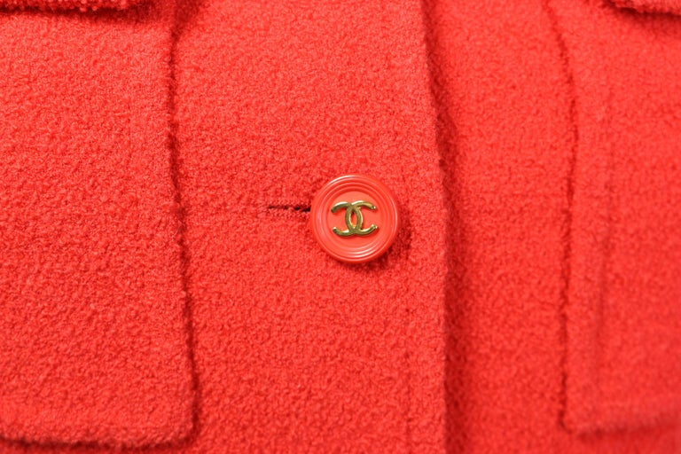 Chanel Red Wool Jacket  In Excellent Condition For Sale In Sheung Wan, HK