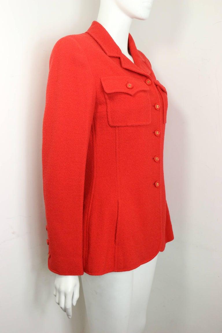 Women's Chanel Red Wool Jacket  For Sale