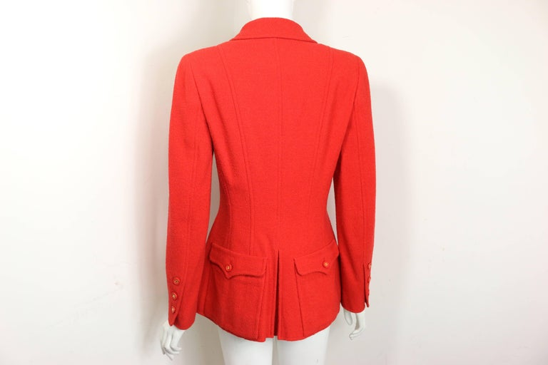 Chanel Red Wool Jacket  For Sale 1