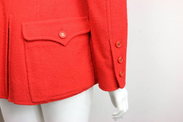 Chanel Red Wool Jacket  For Sale 2