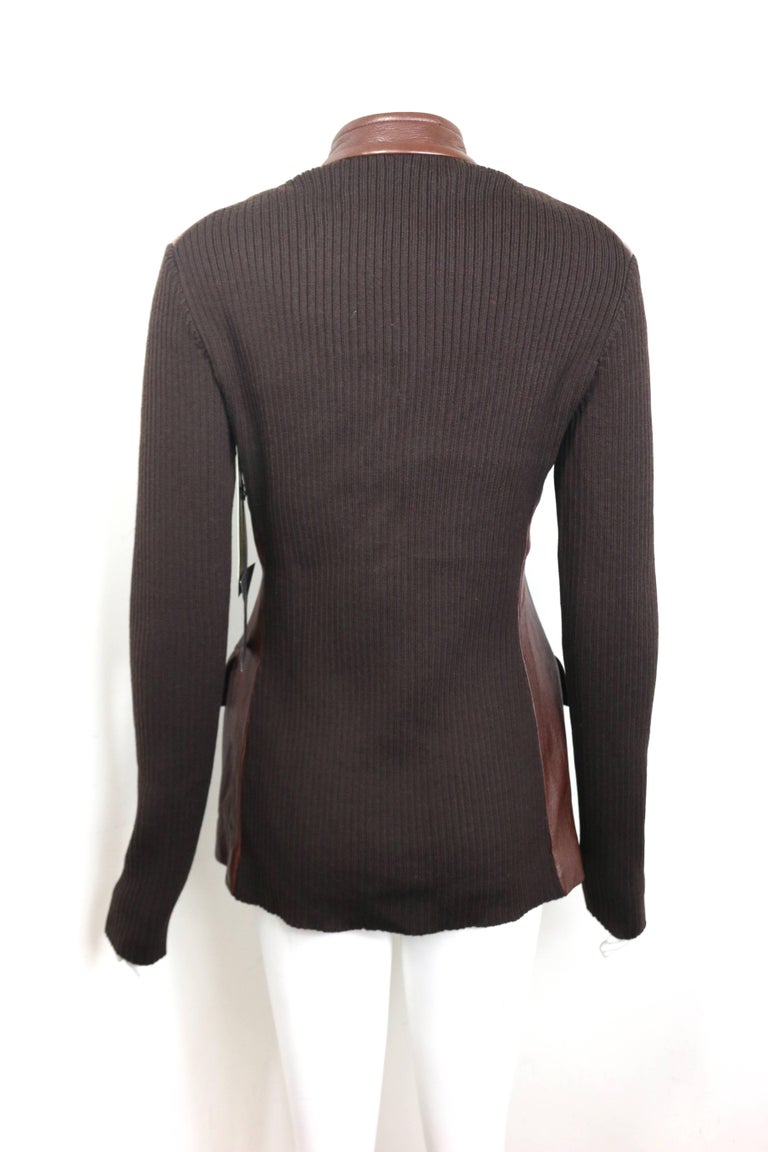 Unworn Donna Karen Brown Bi Fabric Leather and Knitted Wool Sleeves Jacket  In New Condition For Sale In Sheung Wan, HK