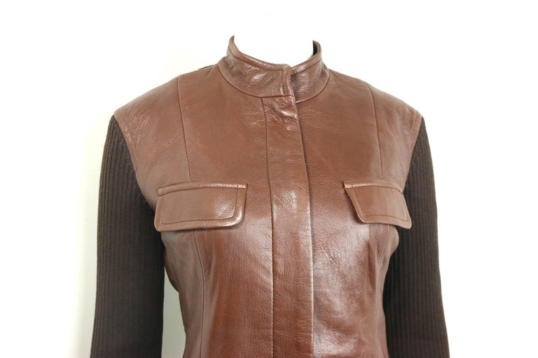 Women's or Men's Unworn Donna Karen Brown Bi Fabric Leather and Knitted Wool Sleeves Jacket  For Sale