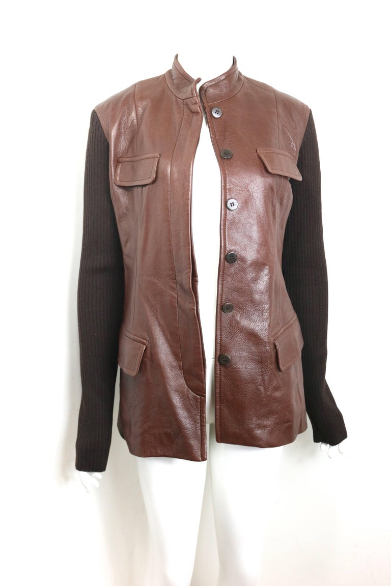 Unworn Donna Karen Brown Bi Fabric Leather and Knitted Wool Sleeves Jacket  For Sale 1