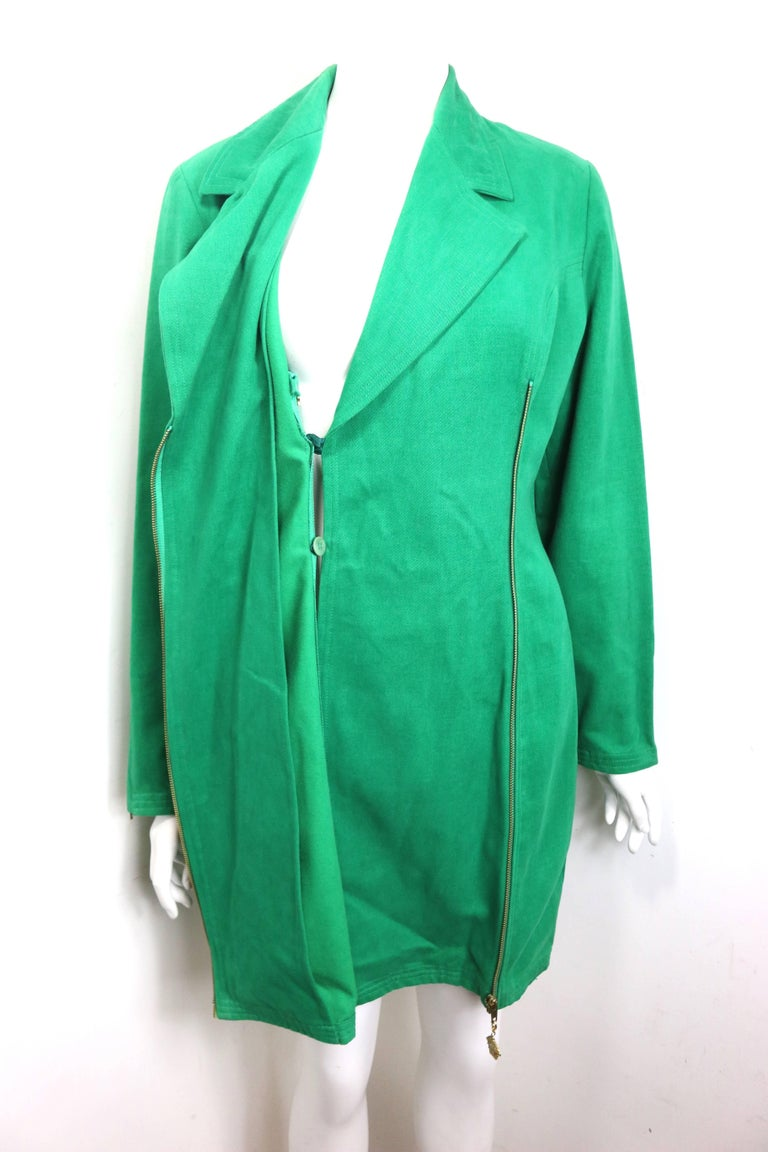 Women's 90s Gianni Versace Jeans Couture Green Double Breasted Long Zip Jacket  For Sale