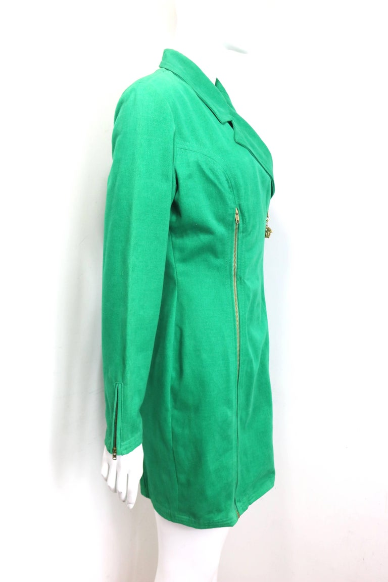 90s Gianni Versace Jeans Couture Green Double Breasted Long Zip Jacket  For Sale 1