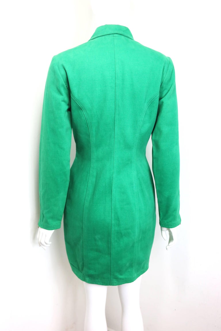 90s Gianni Versace Jeans Couture Green Double Breasted Long Zip Jacket  For Sale 2