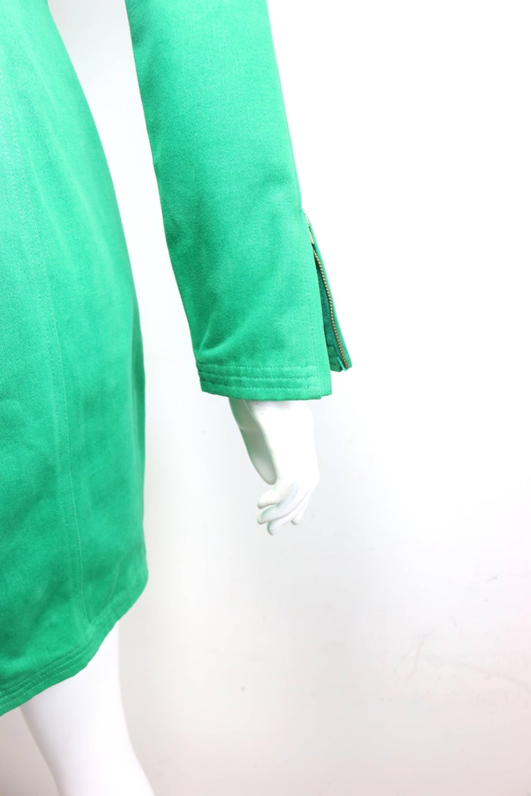 90s Gianni Versace Jeans Couture Green Double Breasted Long Zip Jacket  For Sale 3