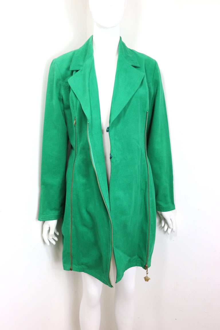 90s Gianni Versace Jeans Couture Green Double Breasted Long Zip Jacket  For Sale 4