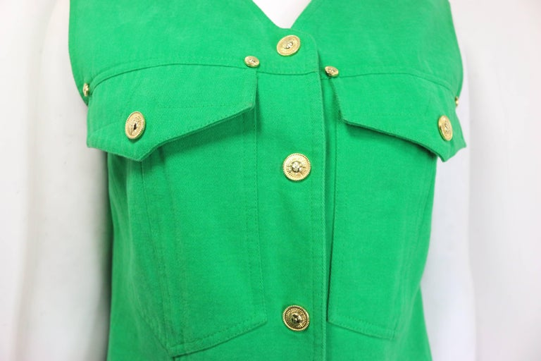 Women's or Men's Gianni Versace Jeans Couture Green Cotton Collarless Vest For Sale