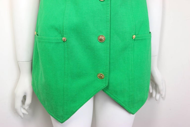Gianni Versace Jeans Couture Green Cotton Collarless Vest For Sale 1